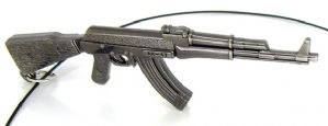 AK-47 Rifle Pendant Army Style on black neck band with silver tone clasp, replica